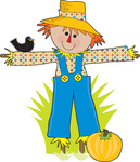 Royalty-free full-color holiday clipart picture of a black bird resting on a happy scarecrow's arm as he guards a pumpking patch for halloween.